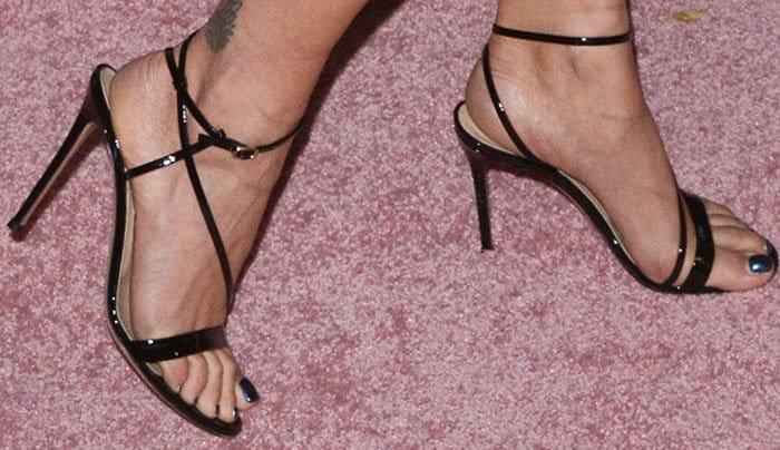 Rita wore the Gianvito Rossi 'Carlyle' sandals in black patent