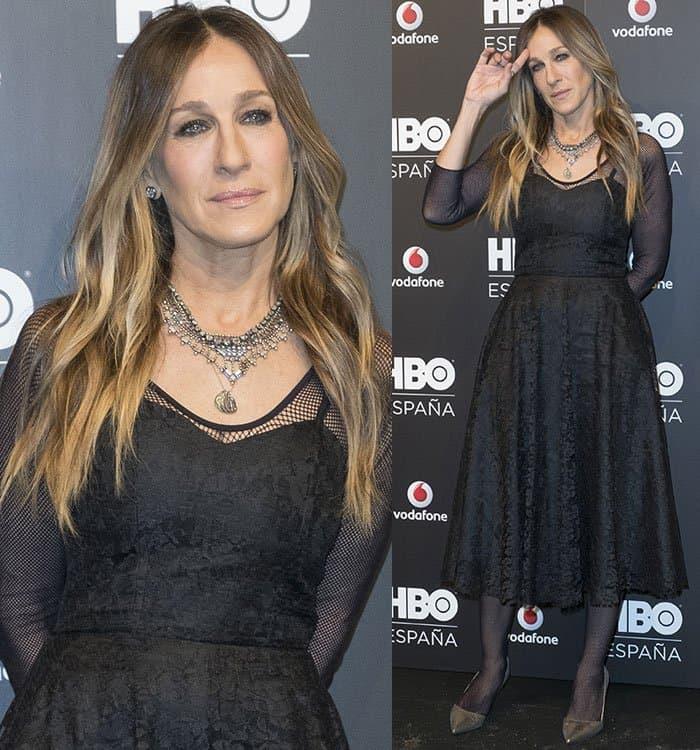 sarah-jessica-parker-black-embroidered-dress-fishnet-sleeves