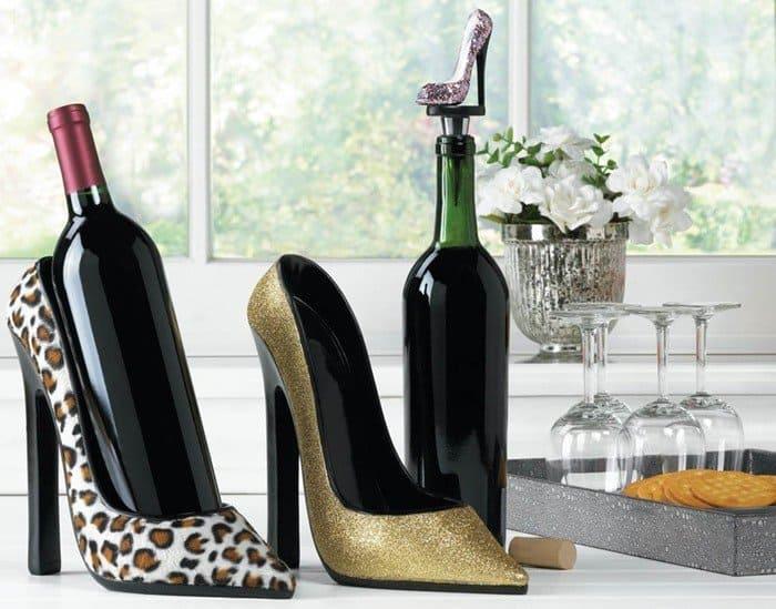 Shoe wine bottle holders