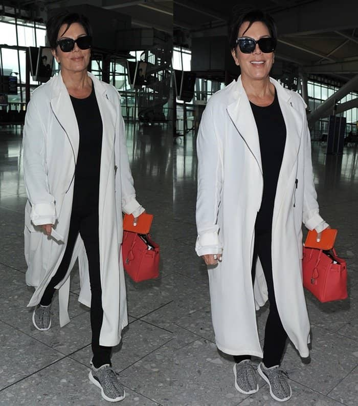 Kris Jenner wearing Yeezy Boost 350 sneakers at Heathrow Airport in London on July 14, 2015