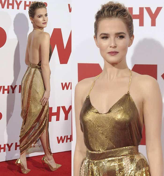Zoey Deutch in Balmain gold dress