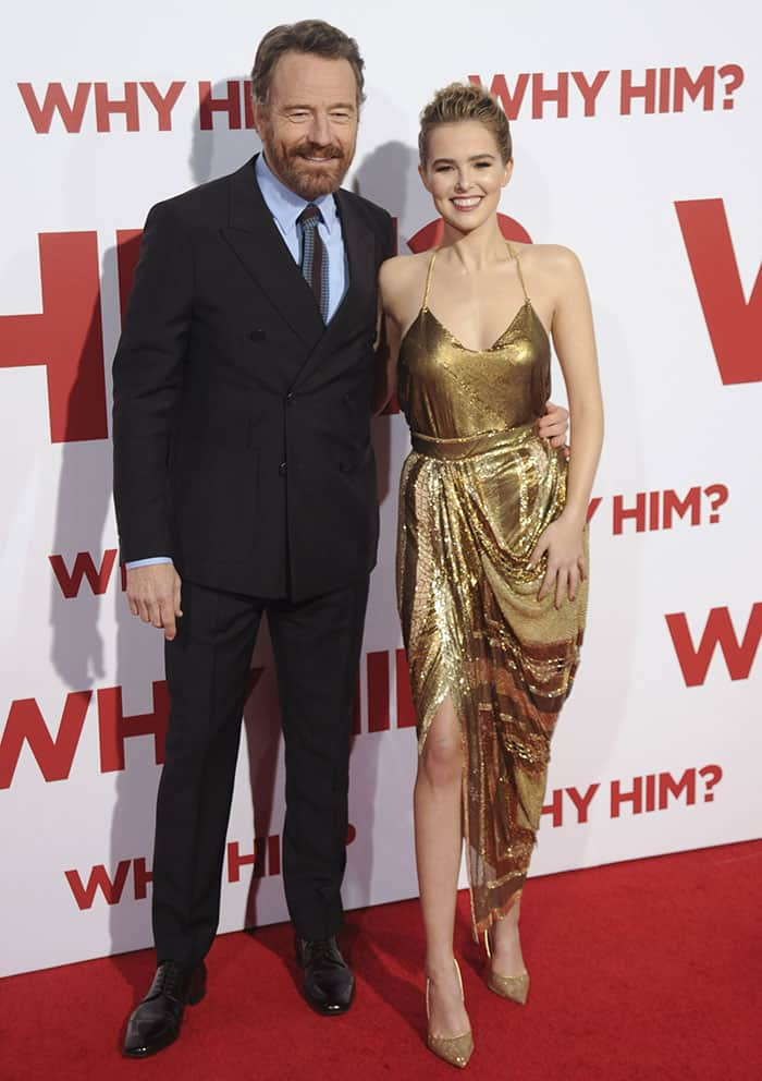 Zoey Deutch and Bryan Cranston at the premiere of 'Why Him' at the Regency Bruin Theatre in Westwood, California on December 17, 2016