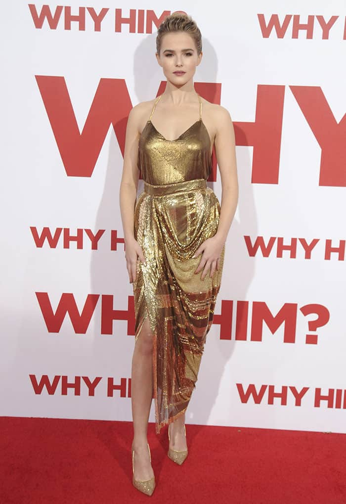 Zoey Deutch ensured all eyes were on her as she stepped out in a gilded number