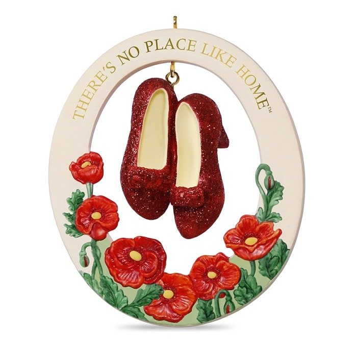 "The Wizard of Oz ""There's No Place Like Home"" Ruby Slippers Porcelain Christmas Ornament"
