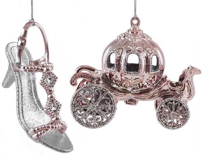 Princess Carriage with Slipper Hanging Christmas Ornament Set