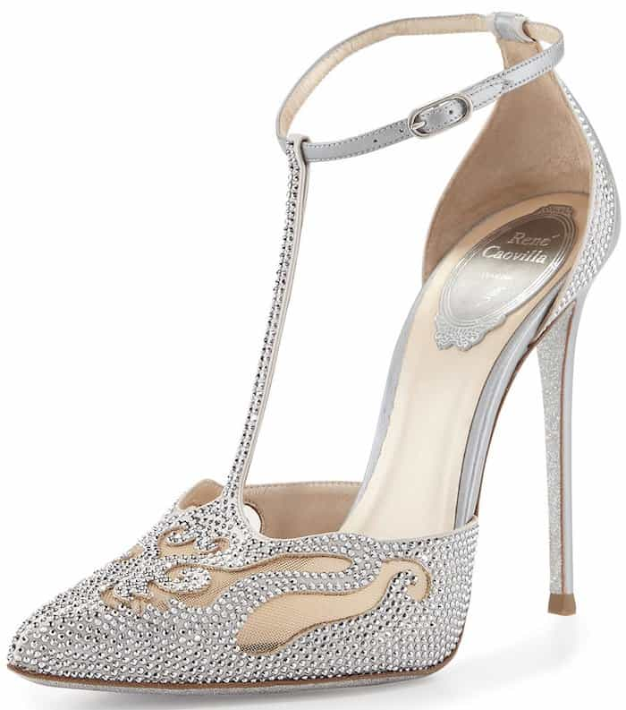 Crystal T-Strap Pointed-Toe Pumps