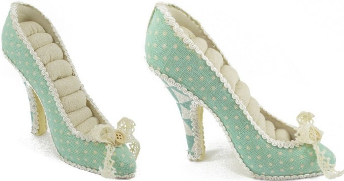 Vintage Style Linen-Covered High Heel Jewelry Holder for Rings