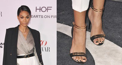 8e5ab6ce70b Chanel Iman Shows Off Pedicure in Gold-Embellished Ankle-Strap Sandals