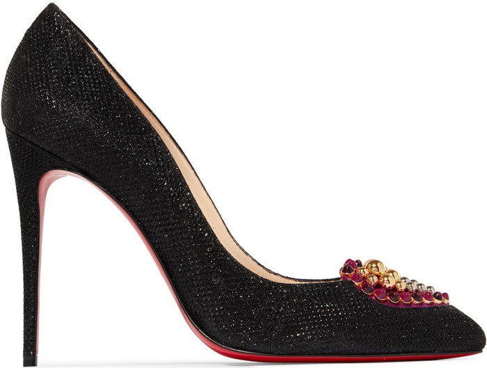 Studded Heart Coralta Mia 100 Embellished Glittered Canvas Pumps