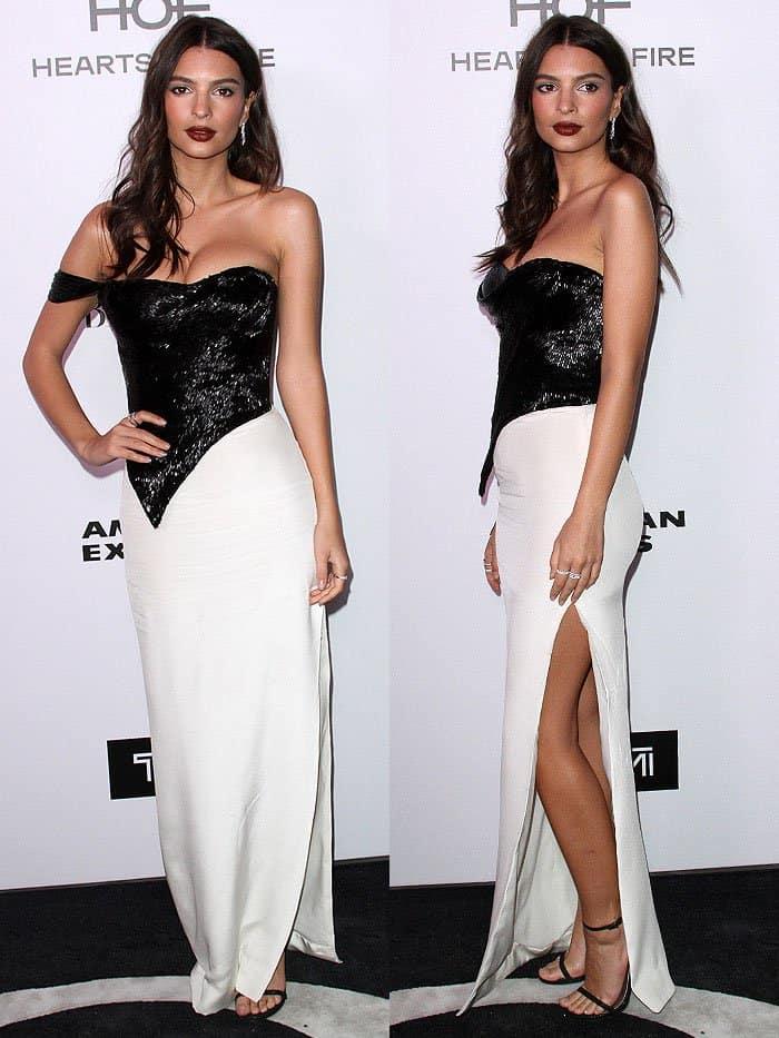 Emily Ratajkowski wore a gown by New York-based dress designer Cristina Ottaviano