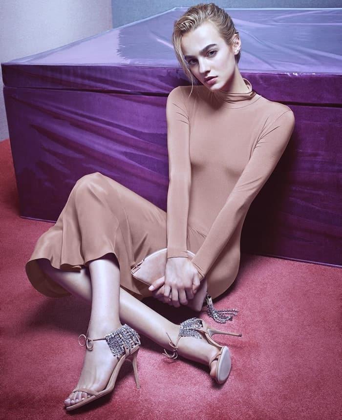 Maartje Verhoef wearing Giuseppe Zanotti 'Carrie' crystal-embellished suede sandals
