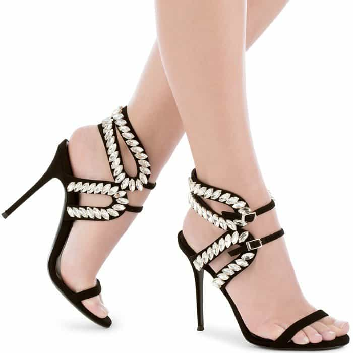 Giuseppe Zanotti Strappy Crystal-Embroidered Suede 'Claudia' Sandals
