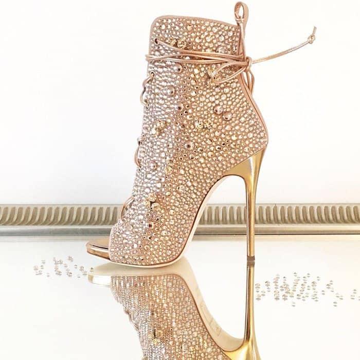 Giuseppe for Jennifer Lopez 'Lynda' Embellished Lace-Up Sandals