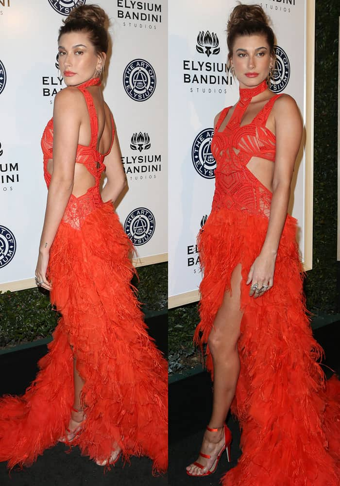 Hailey Baldwin turned heads in a bright cutout gown by Jonathan Simkhai