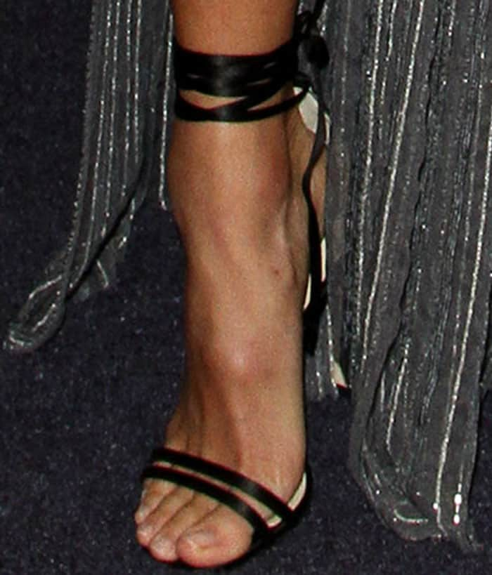 Jamie Chung shows off her feet in Jimmy Choo Tizzy sandals