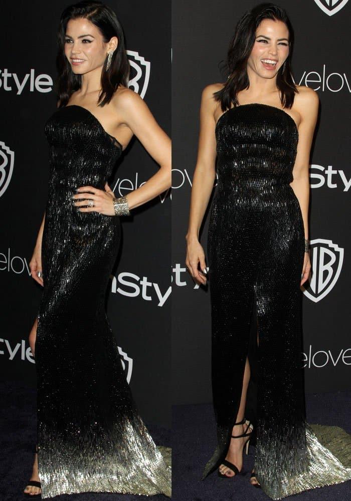 Jenna Dewan-Tatum sparkled in a sequined bustier gown by Julien MacDonald