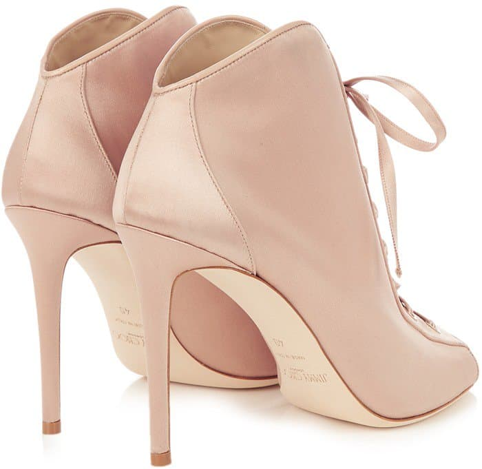 Jimmy Choo 'Freya' 100mm Open-Toe Satin Ankle Boots