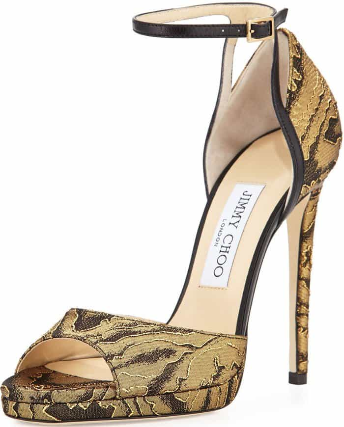 Jimmy Choo Pearl Gold Black Sandals