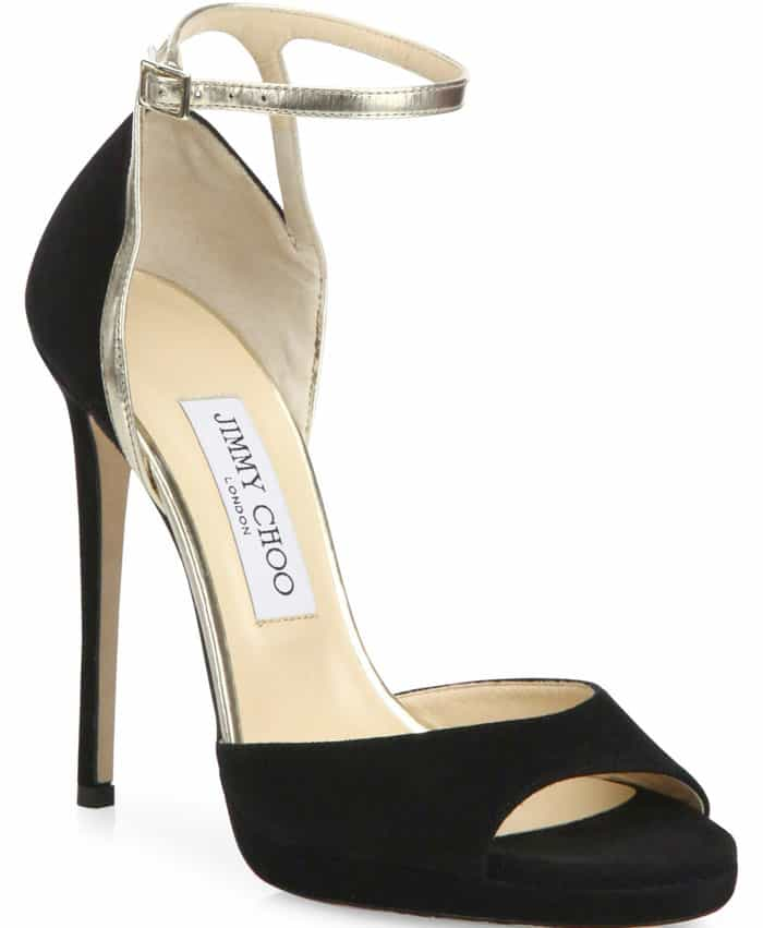 Jimmy Choo Pearl Metallic Black Sandals