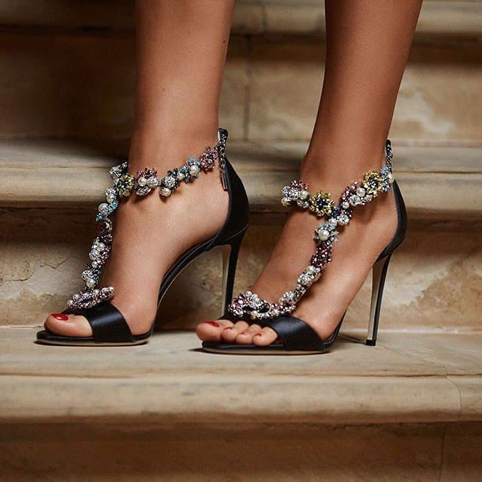 Jimmy Choo's Crystals Camellia With Sandals Detachable 'reign' OkTZXiPu