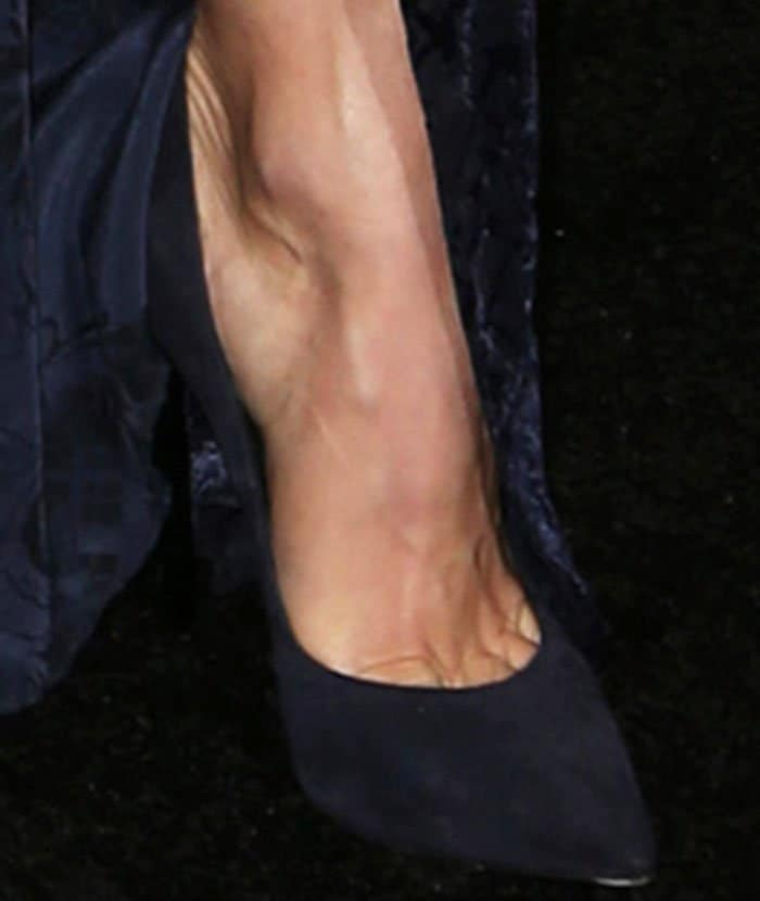 "Julianne showing toe cleavage in navy suede Casadei ""Blade"" pumps for her midnight look"