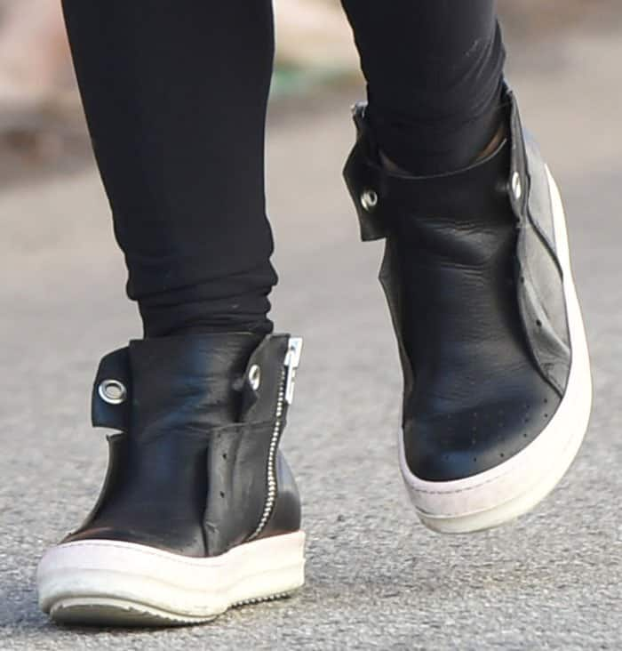 Julianne Hough rocked leather high-top sneakers