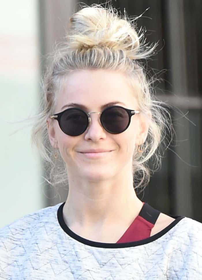 Julianne Hough pulled her blonde locks up into a messy bun