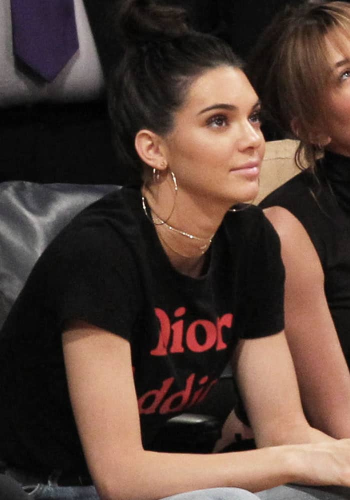 """Kendall Jenner expressed her love for Dior by wearing a """"Dior Addict"""" statement shirt"""