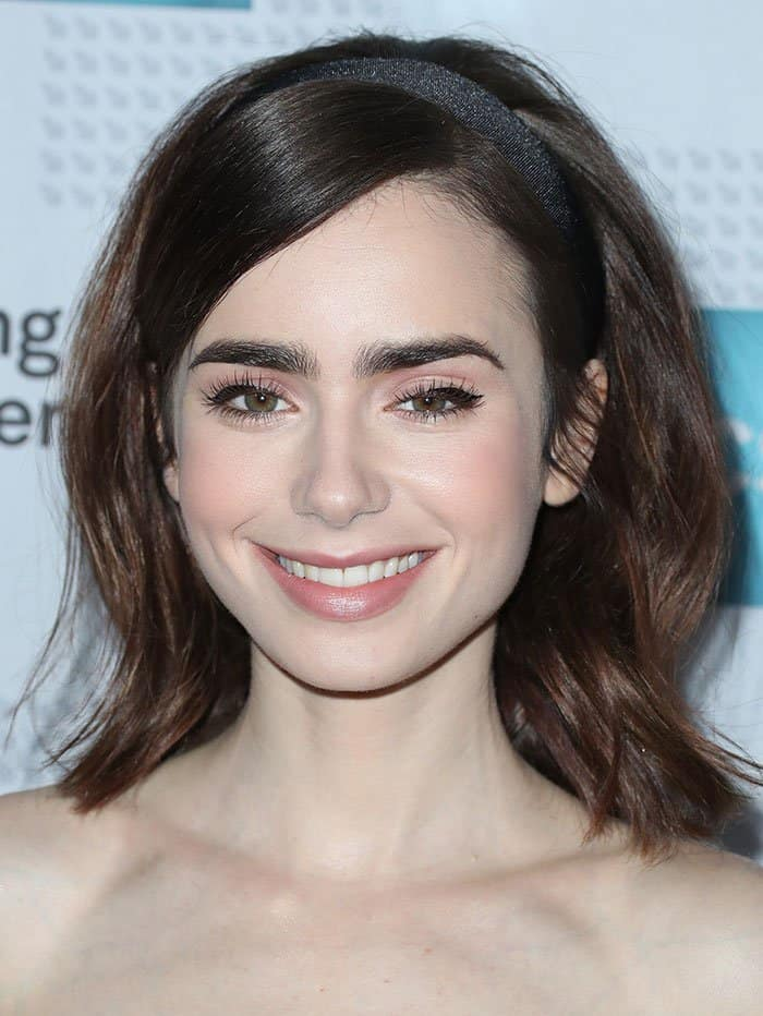 Lily Collins wears soft pink makeup