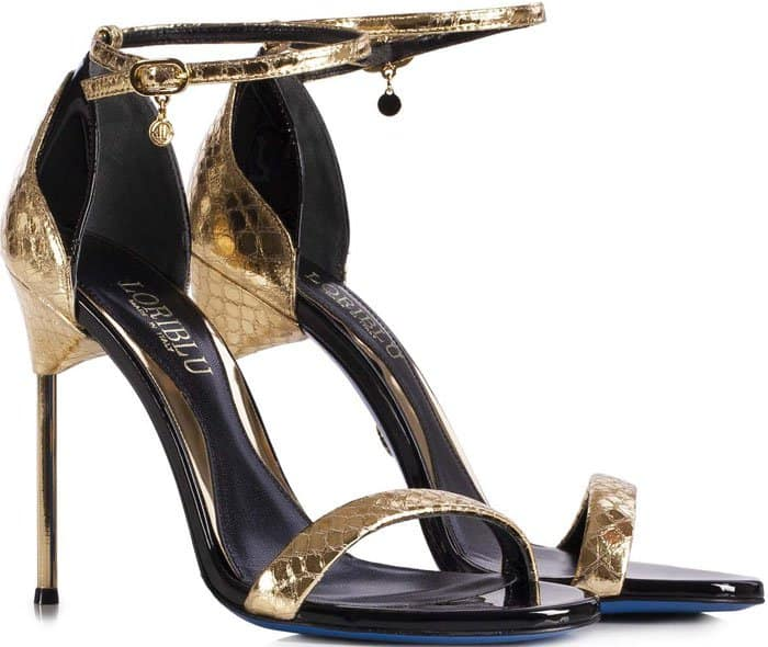 Loriblu Gold Calfskin Ankle Strap Sandals