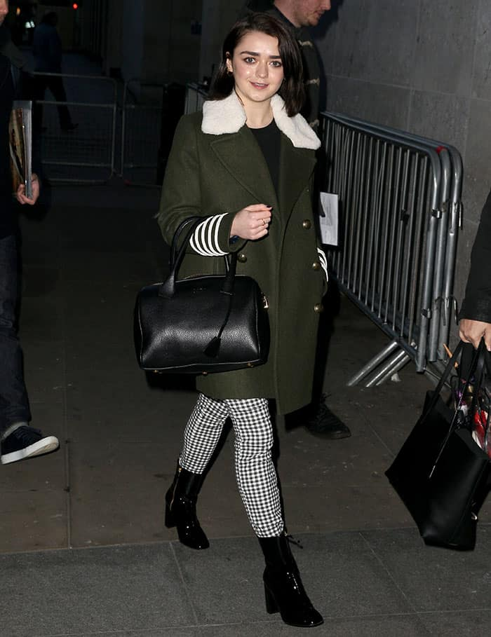 Maisie Williams arriving at the Radio 1 studios on January 17, 2017