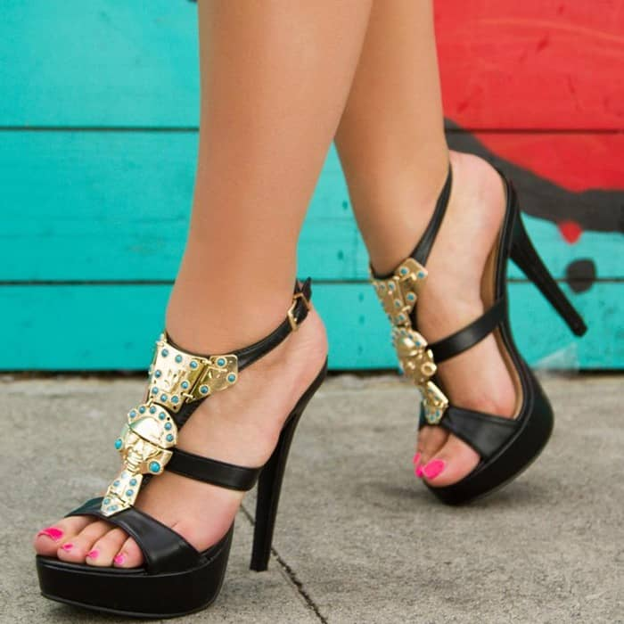 'Maziah' sandal that flaunts ornate metallic plating on a glam platform silhouette