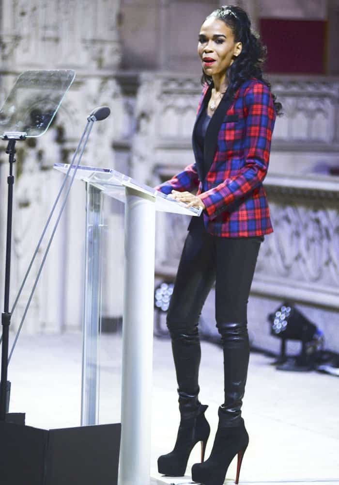 Michelle shows off her toned physique inleather pants as she delivered her MLK speech