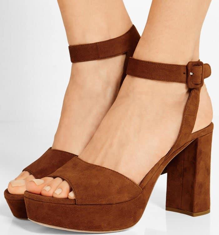 Miu Miu Platform Ankle-Wrap Sandals Brown Suede