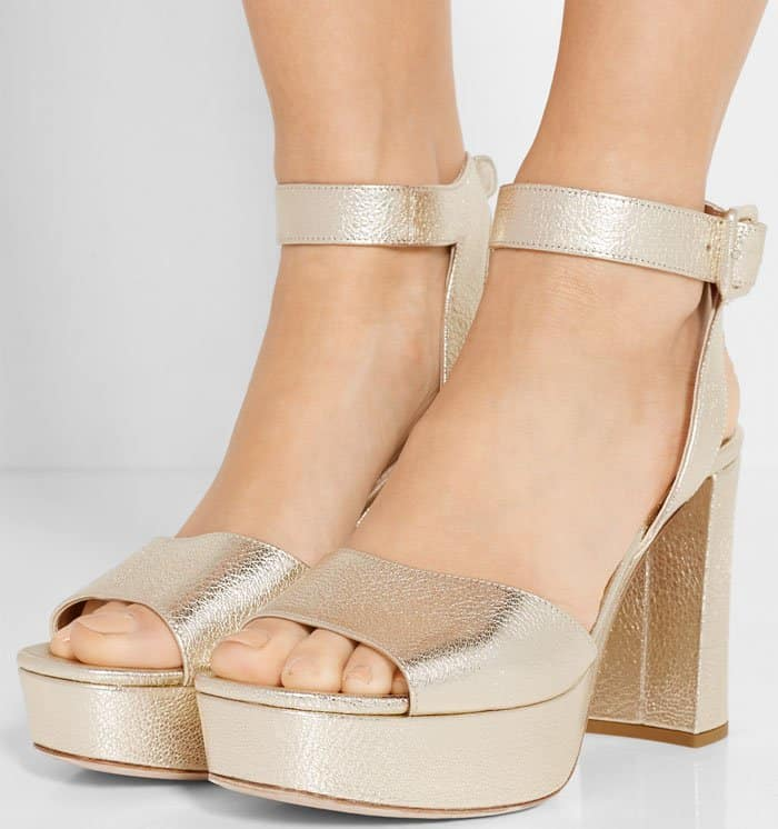 Miu Miu Platform Ankle-Wrap Sandals Metallic