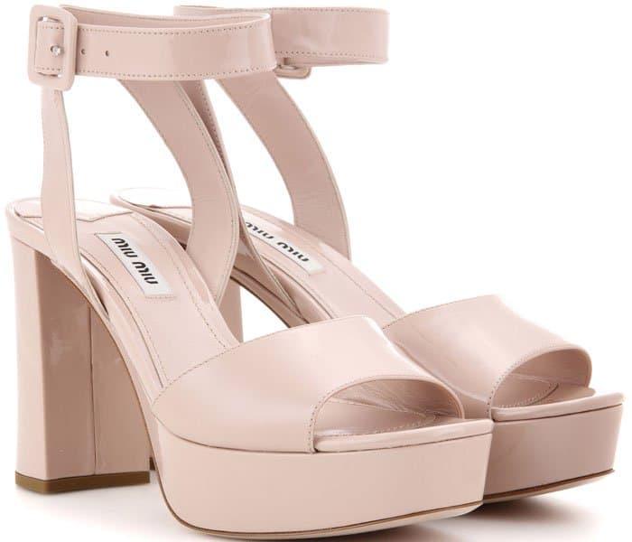 Miu Miu Platform Ankle-Wrap Sandals Nude Leather