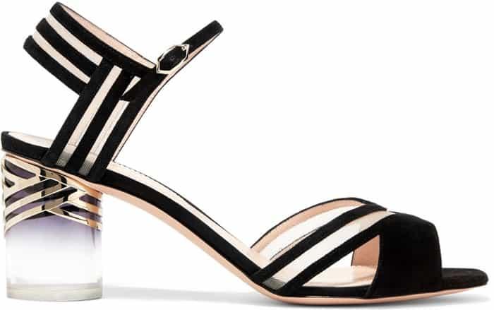 "Nicholas Kirkwood ""Zaha"" Mesh-Paneled Suede Sandals"
