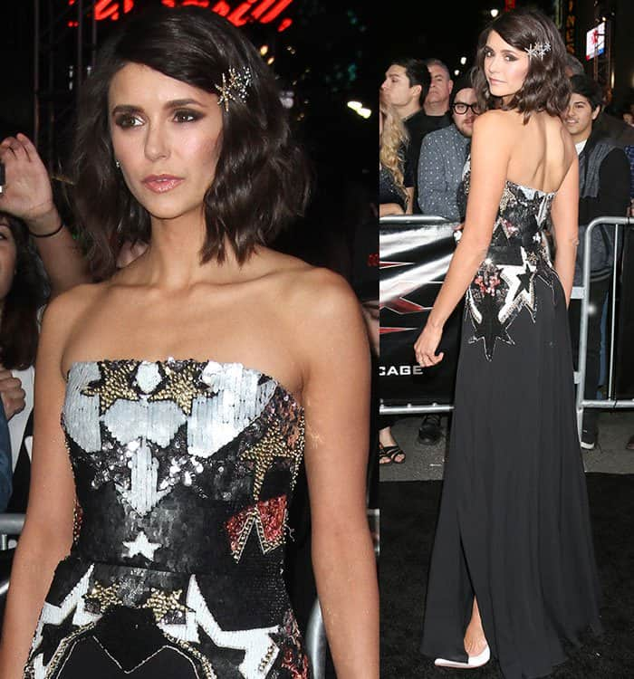 Nina Dobrev at the 'xXx: Return of Xander Cage' premiere held at the TCL Chinese Theatre IMAX in Los Angeles