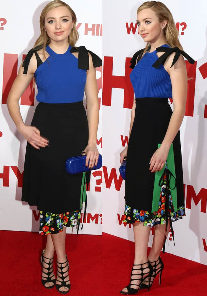 Peyton looks fresh in a complementing top-and-skirt combination by MSGM
