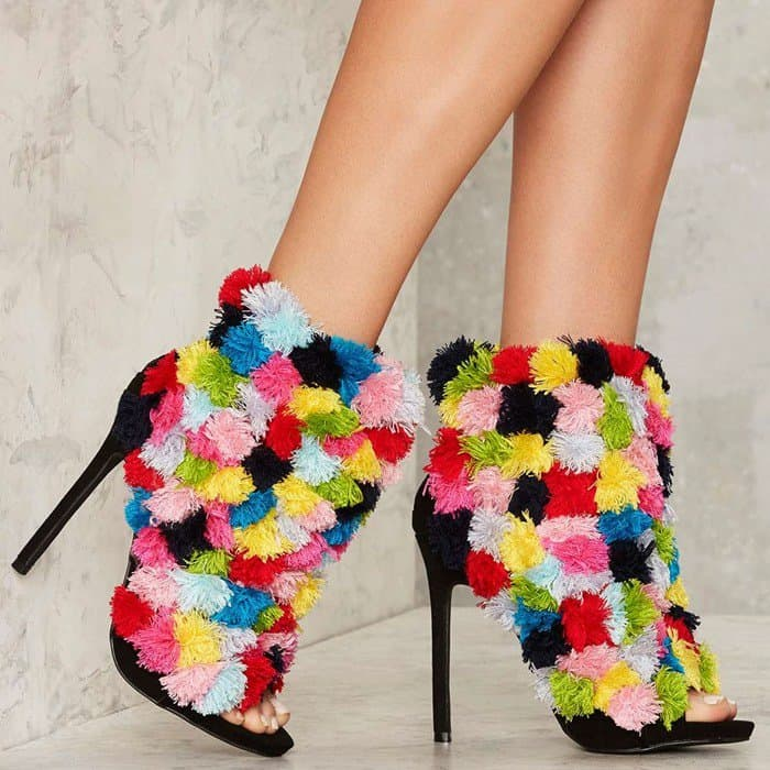 Privileged 'Frill' Pom Pom Booties