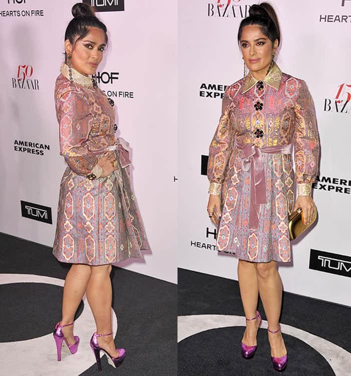 Salma Hayek in Gucci dress