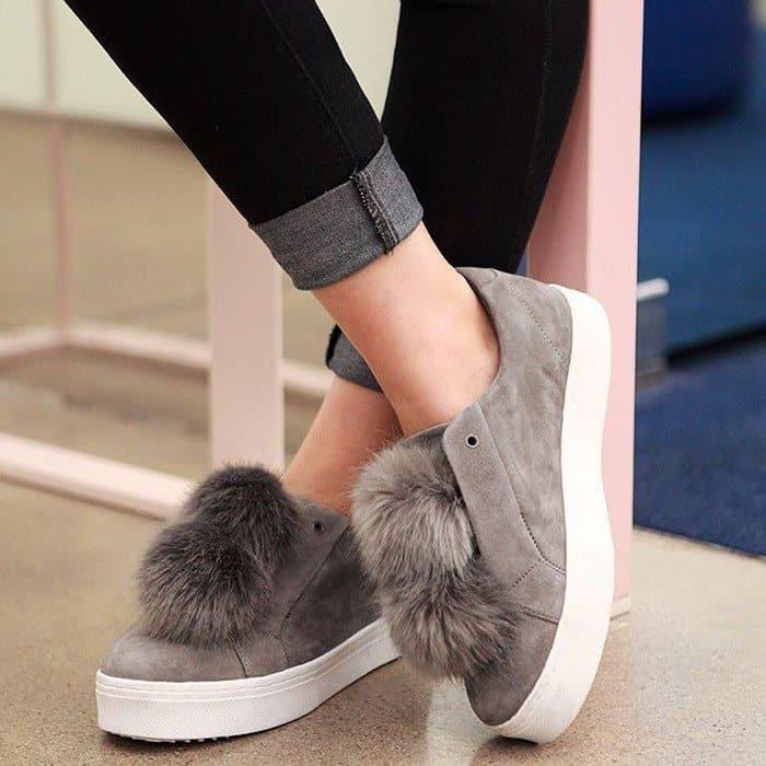 c1123c669389 Sam Edelman  Leya  Faux Fur-Embellished Suede Slip-On Sneakers
