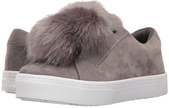 Sam Edelman 'Leya' Faux Fur-Embellished Suede Slip-On Sneakers