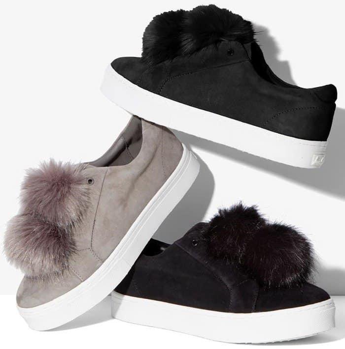 178de08c0 Sam Edelman  Leya  Faux Fur-Embellished Suede Slip-On Sneakers