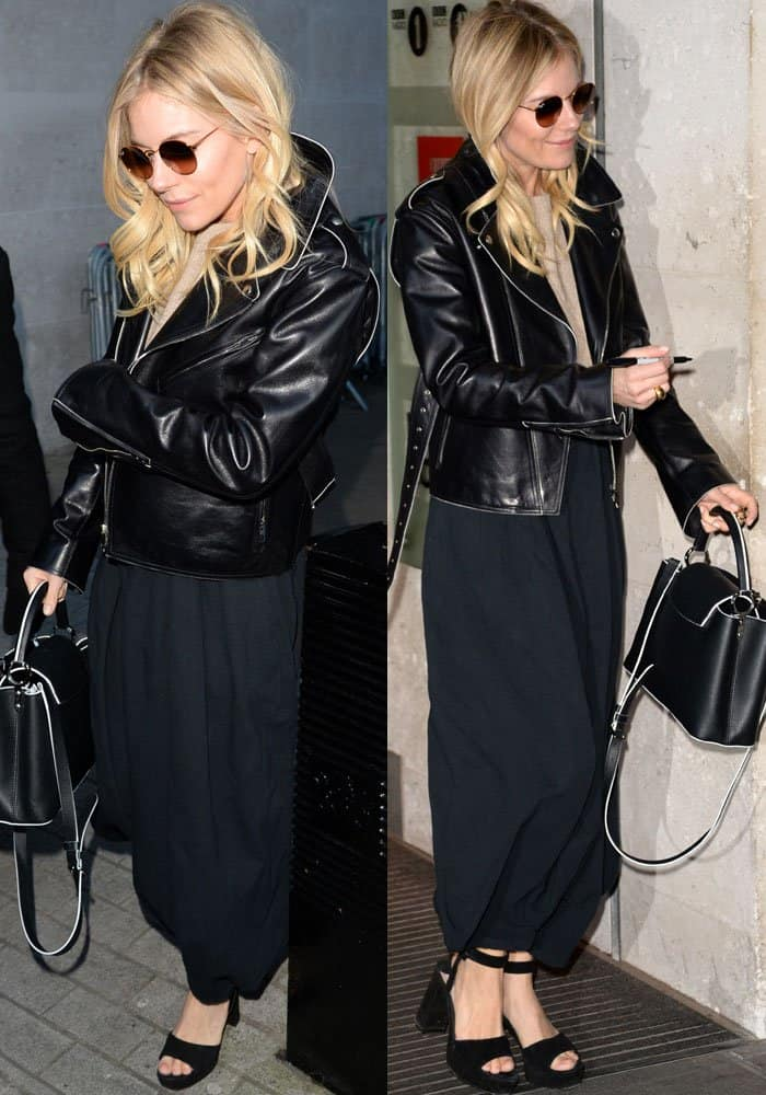 Sienna Miller stepped out in a leather jacket over a knitted sweater