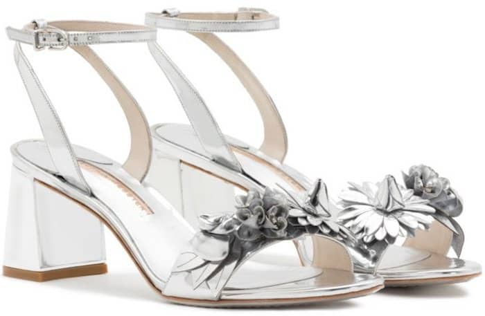 Sophia Webster Lilico mid-heel sandals in silver patent