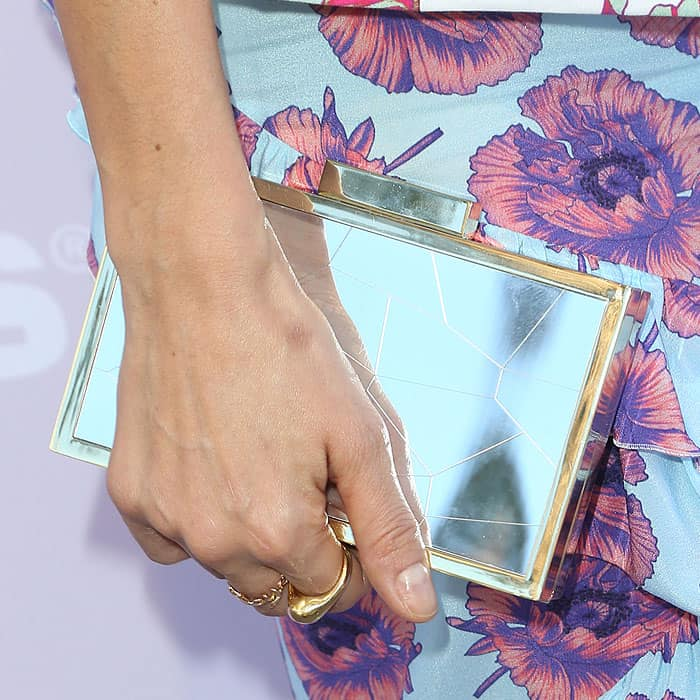 Thandie's Vince Camuto clutch was thankfully not printed