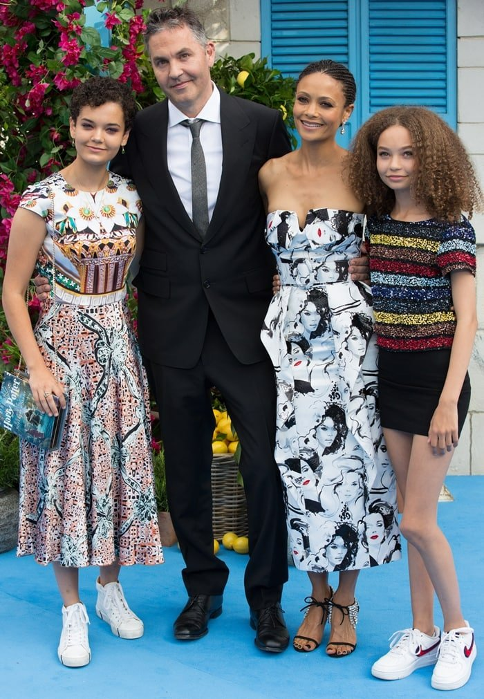 Thandie Newton posing with her two gorgeous daughters, 17-year-old Ripley and 13-year-old Nico, and director husband Ol Parker