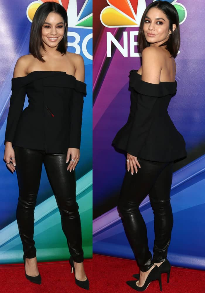 Vanessa Hudgens looks gorgeous in a simple off-shoulder top and leather pants