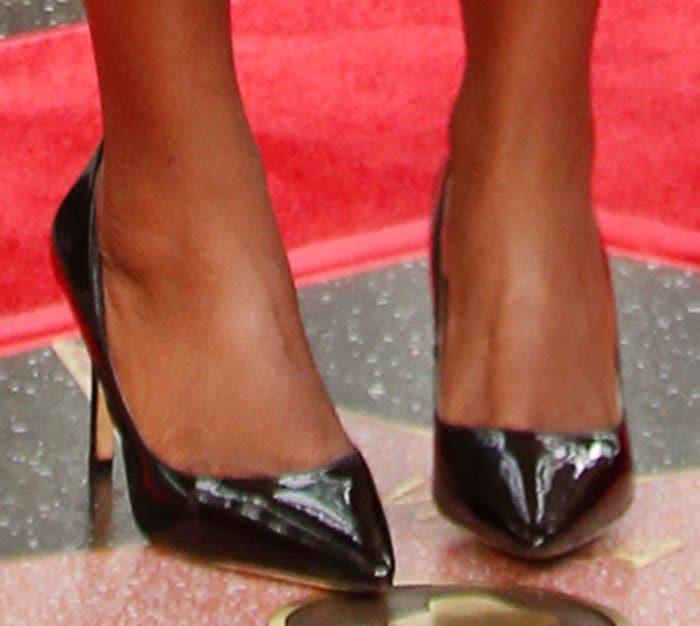 Viola Davis wore black patent Carola heels